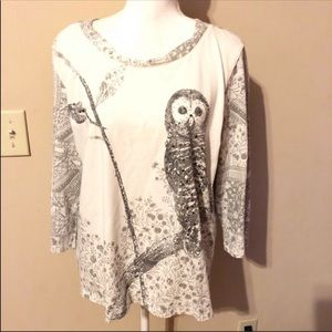 🌺3for$25 Alfred Dunner Owl Blouse
